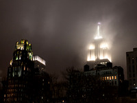 Empire State Building in the fog last night.